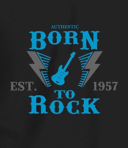 """""""Born to Rock, Est. 1957"""" - Geschenk T Shirt zum 60. Geburtstag, Herren Saphir/Grauer Druck"""