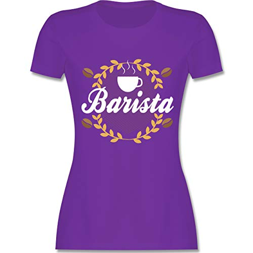 Küche - Barista - S - Lila - L191 - Damen T-Shirt Rundhals