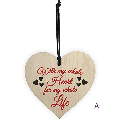 Schild zum Aufhängen Tags, yuyoug Holz Geschenk Hänger Anhänger Familie Freundschaft Love Sign Love Herzform Wein Tags Geschenkanhänger Crafts Decor, Holz, a, Einheitsgröße