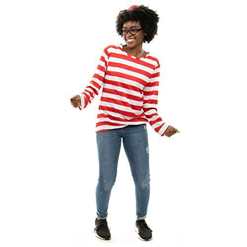 Where's Waldo Kostüm Junge - Hauntlook Halloween-Kostüm Where's Wally für Damen, Cosplay-Outfit - Mehrfarbig - Large