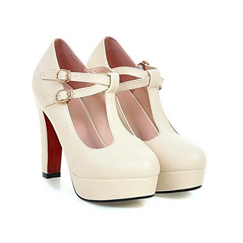 AgooLar Femme Couleur Unie Pu Cuir à Talon Haut Rond Boucle Chaussures Légeres Beige