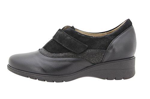 Scarpe donna comfort pelle PieSanto 9956 casual comfort larghezza speciale Negro