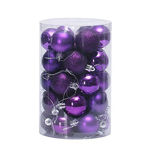 Glitzfas - set di 34 palline per albero di natale, 4/6/8 cm, viola scuro, durchmesser 4cm