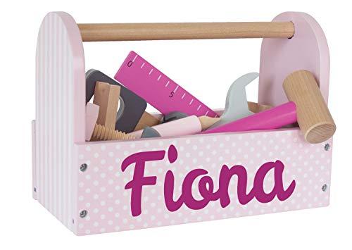 Elefantasie Werkzeugkoffer aus Holz mit Namen personalisiert rosa