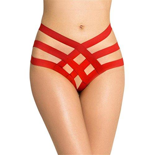 JIAZI Frauen Plus Size Sexy Dessous Hohl Verband Panty Höschen Unterwäsche Schlüpfer (3 pack) , red , xl