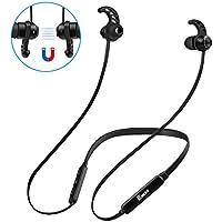 Auriculares Bluetooth Deporte,EJIKER Auricular Magnético Deportivos Inalámbricos 4.1 Neckband con Micrófono Larga Duracion 8 Horas de Juego Cancelación de Ruido Gimnasio CVC6.0(Negro)