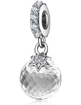 Mond und Stern Charm echtes 925Sterling Silber mit CZ Baumeln Charms Bead Klar