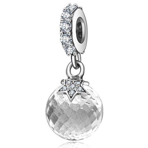 Luna e stella in argento sterling 925charm con ciondoli pendenti chiaro cz perlina
