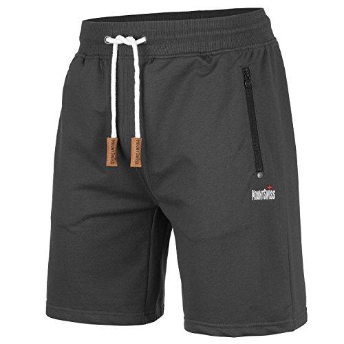 Mount Swiss Herren MS Short, Liam, Anthracite, Gr. XL/Kurze Hose/Jogginghose / Sweatpants aus 100% Baumwolle