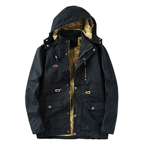 Oudan giacca a vento in cotone da uomo giacca invernale a felpa pesante parka cappotto con cappuccio (colore : nero, dimensione : xxxl)