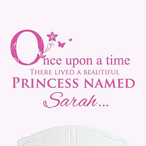Une Belle Princesse nommé Sarah de lit Once upon a time Sticker mural en vinyle Art Chambre Fille/bébé