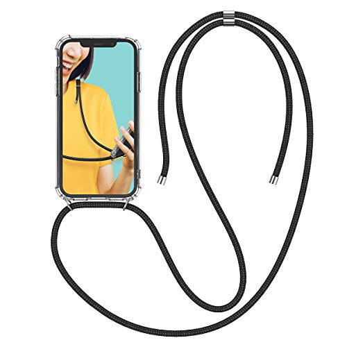 Winhoo Handykette Handyhülle mit Band Kompatibel mit iPhone XR Hülle Silikon und Hard Transparent Durchsichtig Necklace Schutzhülle Kratzfest Handyanhänger - Schwarz Hard Silikon