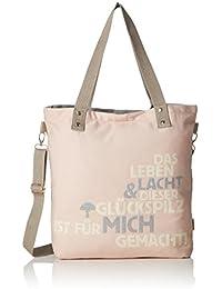 Adelheid - Glückspilz M. Spruch Einkaufstasche, Bolso Mujer, Rosa (Altrosa), 10x39x44 cm (B x H T)