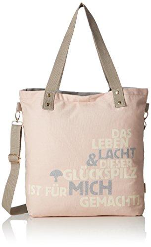 Adelheid-Damen-Glckspilz-M-Spruch-Einkaufstasche-Henkeltasche-Pink-Pink-Altrosa-10x39x35-cm
