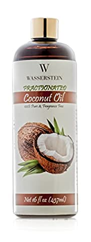 Therapeutic Grade Fractionated Coconut Oil with Pump - 100% Pure & Natural. An Ideal Base and Carrier Oil for Aromatherapy or as a Hydrating Massage Oil by Wasserstein (16oz,