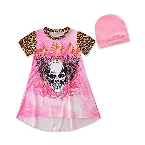 Jaysis Baby Kleid Frühlings Herbst Ärmellos Baumwolle Lässige Kinderkleidung Halloween Cartoon Schädel Drucken Prinzessin Kleider Kleidung Set (Hippie Kostüm Applique Set)