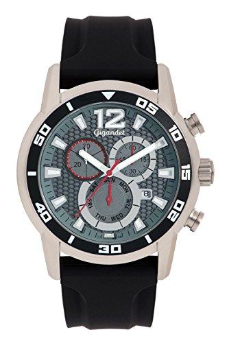 Gigandet G14–005–Montre pour hommes, bracelet en silicone couleur noir
