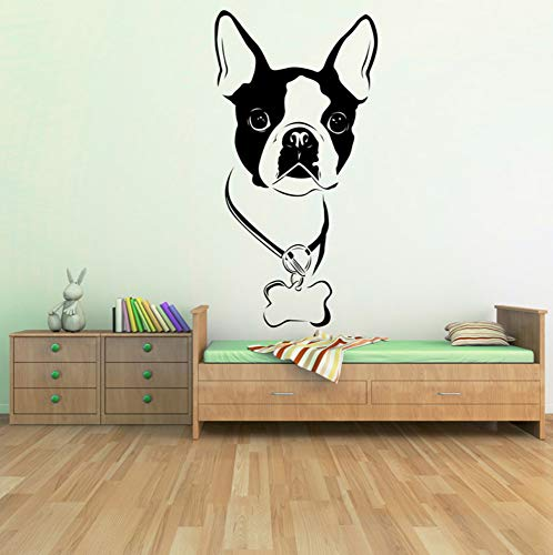 Boston Terrier Dog Wall Decal Art Wandaufkleber für Kinderzimmer dekorative Aufkleber abnehmbare PVC-Wandtattoo 26x50cm