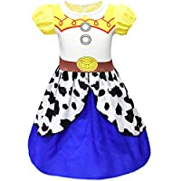 Thombase Girls Toddlers Jessie Costume Dress up Fancy Party Dresses Childs Birthday Holiday Cosplay Halloween Outfit Clothes (style1, 120(4-5years))