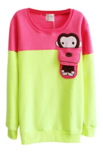 Aza Boutique Lovely Cartoon Scimmia color block girocollo a maniche lunghe Felpa Monkey3_g Taglia unica