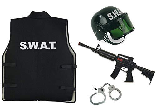 KarnevalsTeufel Kostüm - Set SWAT für Kinder | 4-TLG. SWAT-Weste, SWAT-Helm, Spielzeug-Maschinengewehr und Handschellen | Agent, Ermittler, Security, Polizei, FBI (140)