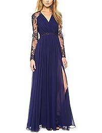 Sommer Kleider Damen Casual Spitze Stickerei Spleißen Lange Kleid  Strandkleider Elegant Tunikakleid mit Seiten Schlitz Split 531cb1e1a6