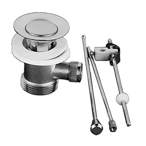 Chrome Rod Lever Pop Up Slotted Sink Waste Modern Brass Bathroom Plug
