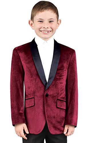 Dobell Boys Burgundy Velvet One Button Shawl Lapel Formal Wedding Suit Jacket, Age 15-16