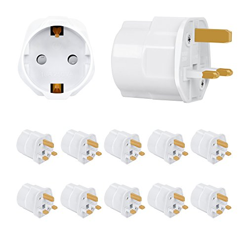 Incutex 10x Reisestecker UK GB England Travel Adapter EU Schuko 2-Pin auf UK 3-Pin Reise Steckdosenadapter Weiß