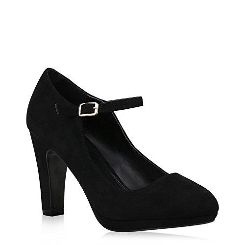 Damen Schuhe Pumps Mary Janes Veloursleder-Optik High Heels Blockabsatz 152890 Schwarz 38 ()