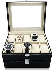 VENKON - Caja para 20 Relojes de Pulsera Vitrina Joyería Almacenamiento y Presentación de Reloj Organizador - Cuero Sintético Negro