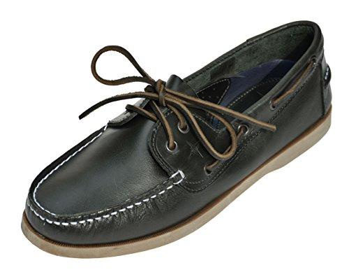 Brauner Herren Mokassin (MADSea Summer Bootsschuh; Dunkelblaues Leder mit Brauner Sohle, Farbe:Dunkelblau, Größe:44 EU)