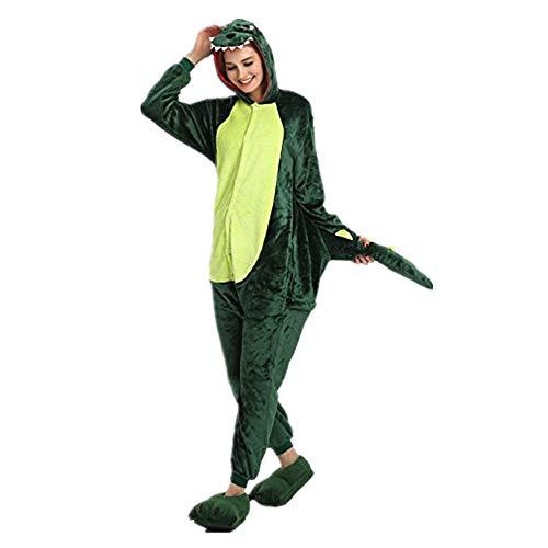 Missley Einhorn Pyjamas Kostüm Overall Tier Nachtwäsche Erwachsene Unisex Cosplay (S, Green Dinosaurs) (Erwachsene Kostüme Onesies Für)