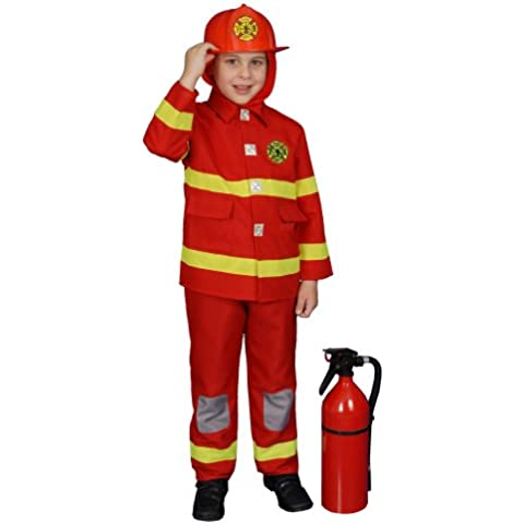 Dress Up America - Disfraz de bombero para niños, talla M, 8-10 años, color rojo (367-M+Firehr)