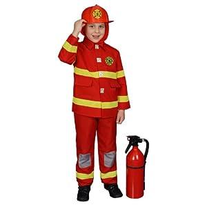 Dress Up America - Disfraz de bombero para niños, 4-6 años, color rojo (367-S+Firehr)