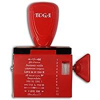 Toga Tampon à Messages 12 Expressions Amour, Plastique, Rouge, 9,5 x 14,5 x 3 cm