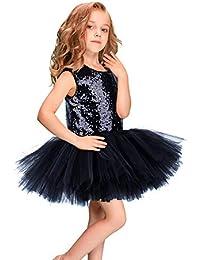 1cc5ff9e3 Vestidos formales de fiesta Niñas sin mangas con lentejuelas vestido de  princesa vestido de tutú falda