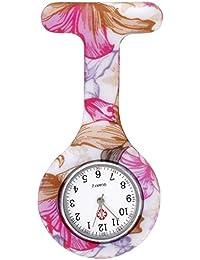 JSDDE Uhren,Krankenschwester FOB-Uhr Damen Silikon Tunika Brosche Taschenuhr Analog Quarzuhr,Weiss-Rot Muster