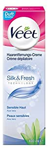 Veet Haarentfernungs-Creme Silk und Fresh sensible Haut, 100 ml