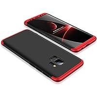 Funda Samsung Galaxy S9 plus,Carcasa Samsung Galaxy S9 plus,JMGoodstore Funda 360 Grados Integral Para Ambas Caras + Cristal Templado para Samsung Galaxy S9 plus,[ 360 ° ] 3 in 1 Slim Fit Dactilares Protectora Skin Caso Carcasa cover para Samsung Galaxy S9 plus Rojo+Negro