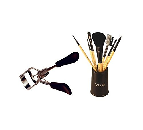 Vega Set Of 7 Brush Evs-07 With Eye Lash Curler Ec-02 (Set of 2)
