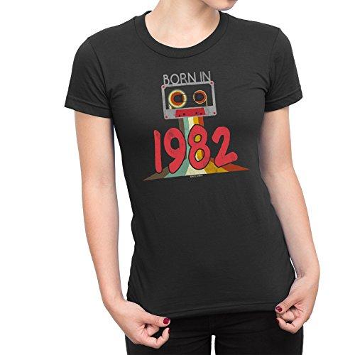 1b07b291912abd Buzz Shirts NÉ en 1982 - Dames 36th Anniversaire Cassette Tape T-Shirt 80s  Eighties