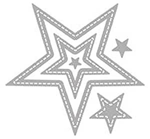Rayher Hobby RAYHER 60278000 Stanzschablone: Sterne, 7, 2x7, 2cm, 5 Stück, Stahl, Silber, 17 x 10 x 0.1 cm