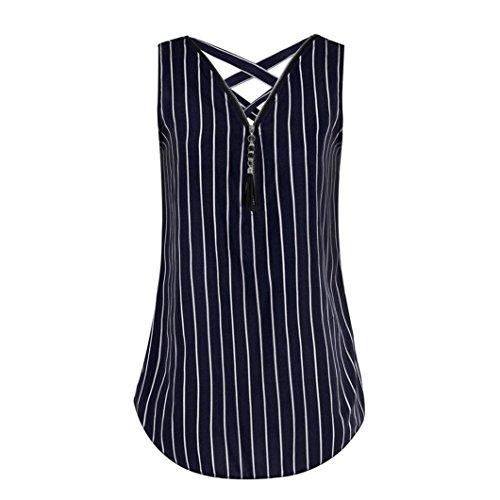 OverDose Damen Damen Sommer Ärmellos T-Shirt Hemd damen Lose Tank Tops Kreuz zurück Saum Gelegt Reißverschluss V-Neck Tops(Z-A-Rosa,EU-42/CN-L) - Fit Short Sleeve V-neck-t-shirt