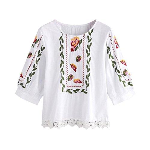 Damen Neuer Herbst Bluse, iHee Spitze Blumenblume Druckte O-Ansatz Blusen Mode Weisebeiläufige Oberseiten Lose T-Shirt (XXL, Weiß)
