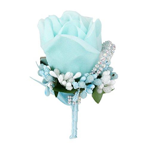 Hochzeit Brautschmuck Herren Groom Kristall Boutonniere Corsage Rose Seide Blume 6Farben