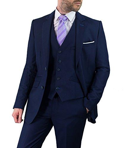 Cavani Jefferson Marine Anzug 3-teilig für Herren, UK 44L