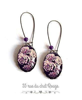 Boucles d'oreilles cabochon, Fleurs rose couleur pourpre violet, bouquet de fleurs