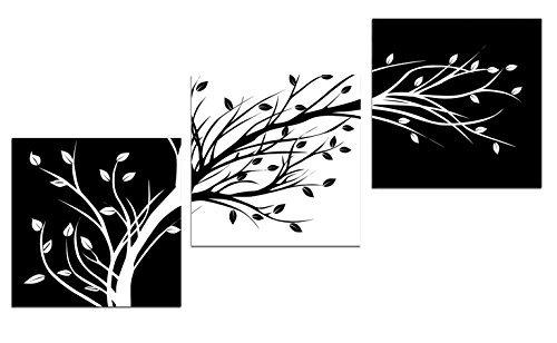 Wieco Art Blanco y Negro Hojas de arte moderno Giclee lienzo Prints Abstract impresión de fotos de imágenes sobre lienzo arte de la pared para Decor uk-p3rab003-3030