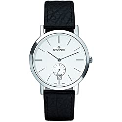 GROVANA 1050.1532 Men's Quartz Swiss Watch with Silver Dial Analogue Display and Black Leather Strap